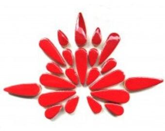 "Poppy Red Glazed Ceramic TEARDROPS Mix (1"" & 1/2"") Flower Petals/Mosaic Craft Supplies"