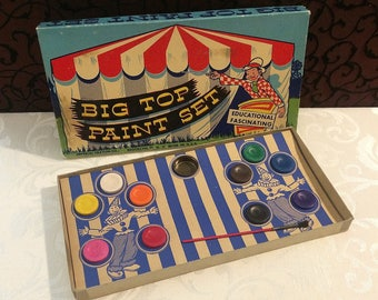 Fun Vintage Paint Set, Watercolor, Big Top Circus, UNUSED, Cardboard, Imperial Crayon Co., c 1950 Mid Century, Art Artist Painter Toy