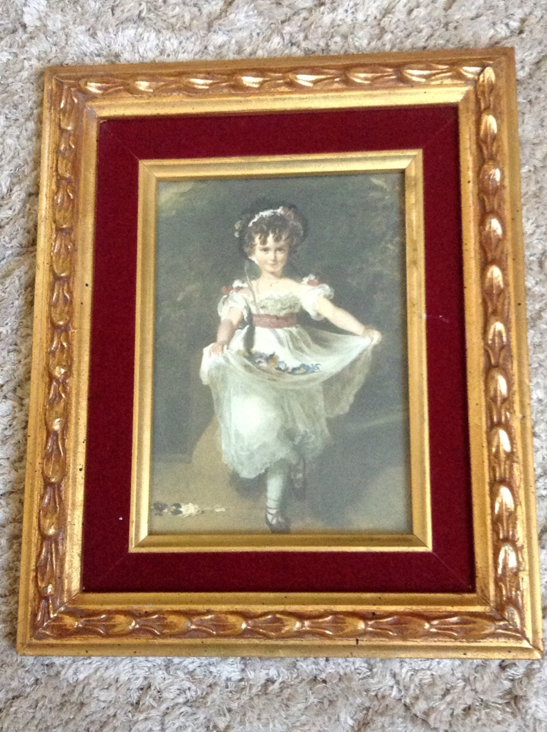 Victorian Girl Picture - Little Girl Framed Picture - Gold Ornate ...