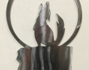 Howling Coyote Metal Wall Art Decoration Skilwerx 12x8 Southwest