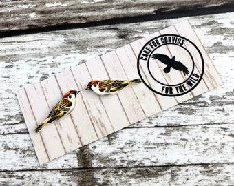 Sparrow Earrings, Sparrow Studs, Garden Bird, Bird Earrings, Bird Jewellery, Sparrow Jewellery