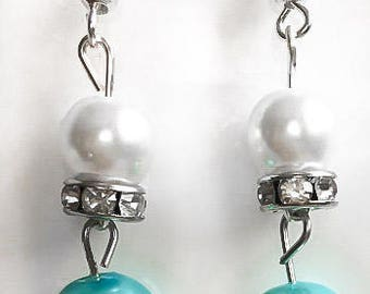 White and Robin's Egg Blue Pearl Earrings with Swarovski Crystal Spacer Beads, Bridesmaid Jewelry, Wedding Earrings