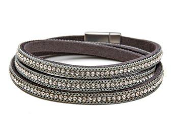 Leather Crystal Wrap Bracelet