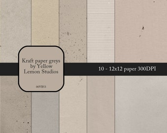 "INSTANT DOWNLOAD- Kraft paper in greys and creams tone on tone background Digital Scrapbooking Paper Pack, 12""x12"", 300 dpi .jpg"