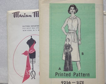 Sz 12, Bust 34 Vintage  Mail Order  Sewing Marion Martin 9256 Dress with Cut Away Shoulders or Sleeves in Two Lengths