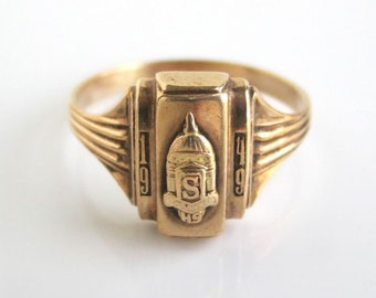 1949 10K Solid Gold Class Ring - South High School, Vintage Nowak, Size 7 3/4 - 3.3 grams