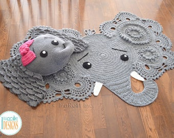Elephant Rug and Pillow Handmade Crochet Set - READY to SHIP