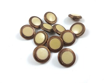 Champagne and bronze plastic sewing buttons - set of 12 vintage shank buttons 15mm