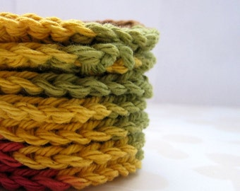 7 Crochet Cotton Facial Scrubbies, Make Up Remover Pads, Fall Colors, Eco Friendly