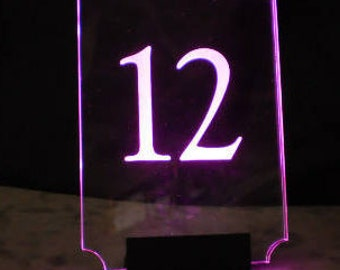 Table Number -  Glowing Number - Illuminated  - Lighted Number - engraved acrylic