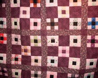 Nine Patch Quilt Pink/wine Print with Pink back 79 x 99
