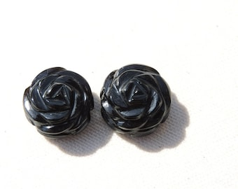 2 Pieces Extremely Beautiful Natural Black Onyx Carved Rose Flower Shaped Beads Size 15X15 MM
