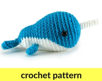 Small amigurumi narwhal pattern - whale crochet pattern, cute crochet pattern, kawaii narwhal amigurumi, cute amigurumi pattern, animal ami