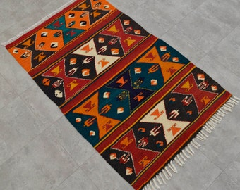 30'' x 53'' Turkish Classic Nomad Kilim Rug Vintage Hand Woven Area Rug  75 X 134 cm FREE shipping to USA