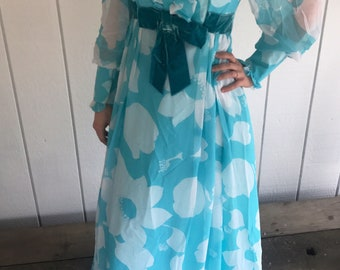 Vintage 1960s Empire Waist Sheer Chiffon Formal Aqua Floral Dress