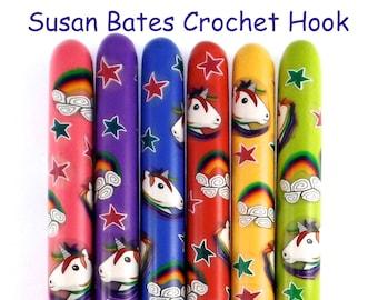 Crochet Hook, Polymer Clay Covered Susan Bates Crochet Hook, Unicorn and Rainbows