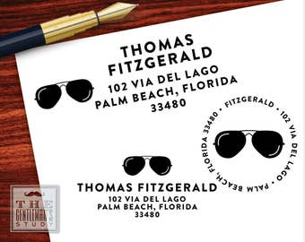 Shades Pre Inked Stamp - Aviator Sunglasses Return Address Stamper - Black Self Inking Stamp - Traditional or Round - New Home Gift for Man