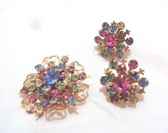 Vintage Pastel Rhinestone Pin and Earrings