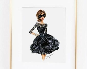 """Fashion Illustration Print, Oscar de la Renta, 8x10"""""""