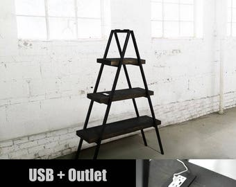 Wood Industrial Bookshelf, USB Charging Station, Industrial Furniture, Office Furniture, Wood Bookshelf, Tech Organizer, Tech Charging Deck