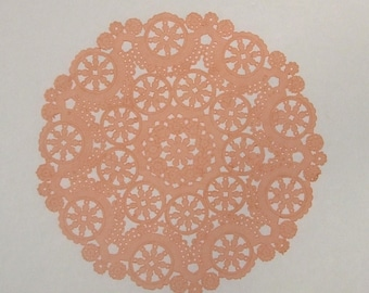 10 dip dyed LIGHT CORAL PEACH paper doilies, 8, 10 or 12 inch, medallion style