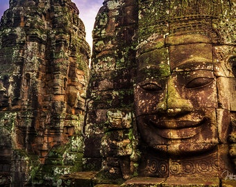 Cambodia temple print, Buddha wall art, photography prints, Asian decor, Buddhist home decor, Bayon archaeology photo, Asia bedroom decor