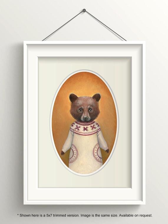 "Bear Art, Bear Cub Painting, Bear Print, Forest Animal Art Print, ""Abigail"""
