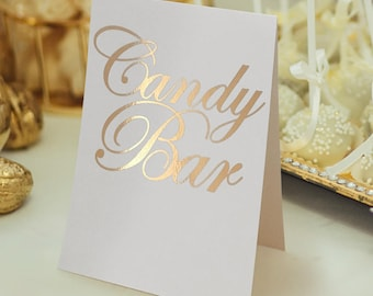 Candy Bar, Gift Table, Head Table, Custom Order Special Table Signs, Gold Foil Card