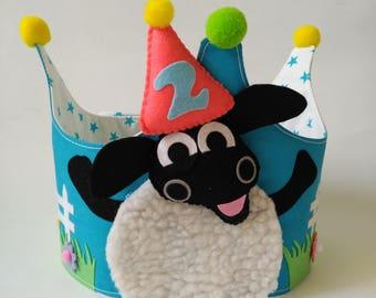 Crown Birthdays-Birthday crown-Congratulations-happybirthday-Children's party-handmade-Timmy Time-sheep Timmy