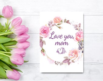 Printable mothers day card from daughter floral mothers day mothers day card from daughter card for mom floral mothers day card printable love you mom watercolor instant download digital card m4hsunfo