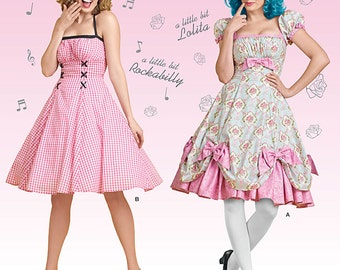 Simplicity 8127-Pin up Girl Dress, Rockablilly Style Dress,Lolita -Plus Size 16-24
