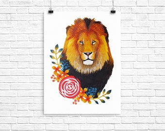 A Lion with floral border Watercolour A4 print