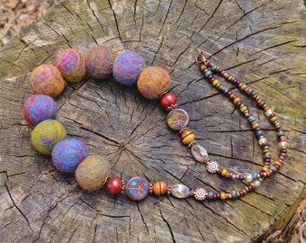 Felted bead necklace, Felted necklace, Felted jewelry neckNecklace with Czech beads, Boho felted necklace, Necklace choker heart