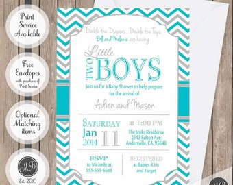 Twin Boys Baby Shower Invitation, Blue and Gray, Chevron Baby Shower Invitation, printable invitation