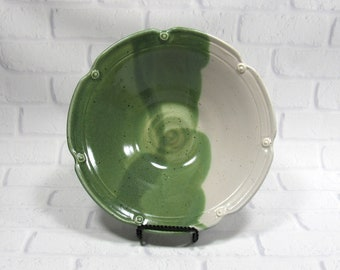 Ceramic Serving Bowl - Decorative Bowl - Serving Platter - Pottery Bowl - Salad Bowl - Green and White Pottery - centerpiece - kitchen decor