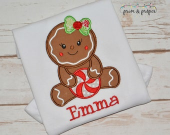 Personalized girls Christmas shirt, gingerbread girl, Christmas outfit