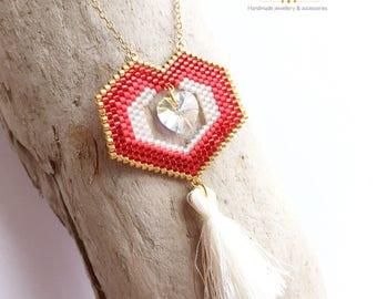 Miyuki necklace/Miyuki jewelry/heart necklace/Miyuki heart/pompom necklace/miyuki delica beads/brick stitch/Swarovski heart crystal