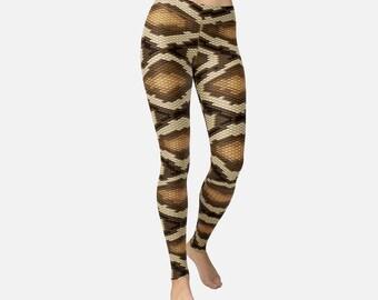 Brown Snake Skin Animal Leggings