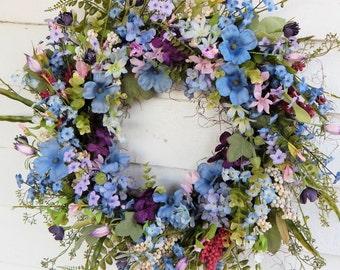 Spring Wreath, Primitive Country Cottage Wreath,Flower Wreath, Centerpiece,Front Door Wreath,Plum& Blue Wreath,Flower Wreath-Choice of Sizes