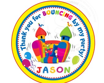 "Custom Colorful Bounce Castle Birthday Printable 2.5"" Tags-Thank you Tags- Personalized Tags, DIY (You Print) 2.5"" tags-Digital file"