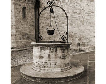 "Fine Art Sepia Photography of Well in San Quirico Tuscany Italy - "" The Old Well in San Quirico"""
