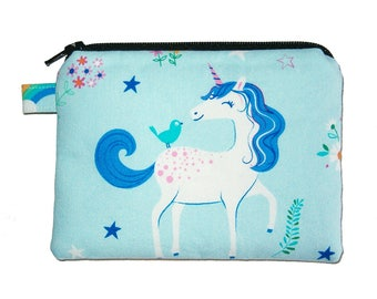 Blue Unicorn Coin Purse - Small Coin Purse - Padded Pouch - Zippered Pouch - Girl's Purse - Unicorn - Rainbow Purse