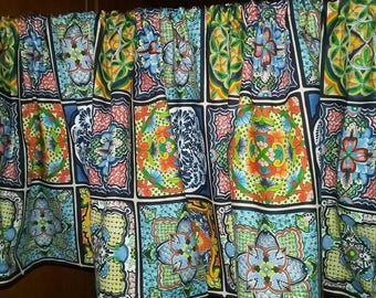 """MEXICAN TILE Print  Valance or Panel  NO top Ruffle Version 40 x 14"""" 18"""" 24"""" or 32"""" Lined or unlined"""