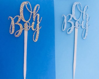 Oh Boy Cupcake Toppers, Its a Boy Party, Glitter Cupcake Toppers, Baby Shower, Sprinkle, Newborn, Welcome Baby,  Customize it!