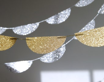 Glitter Paper Garland, Gold or Silver, Bridal Shower, Baby Shower, Party Decorations, Birthday Decoration