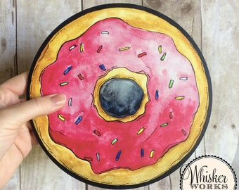 Summertime Props - Plastic Photo Booth Signs - pink sprinkled donut