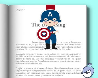 CAPTAIN AMERICA BOOKMARK - magnetic clip bookmark planner clip day tracker page marker