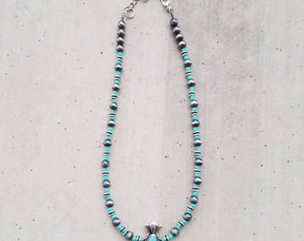 Turquoise and Silver Navajo Pearls Necklace