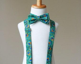 Peacock Suspender and Tie Set