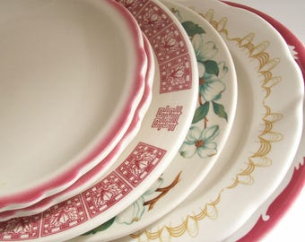 Mismatched Restaurantware Plates, Vintage Set of Six, RW Plates, Restaurant China, Retro Dinnerware, Assorted Patterns, Instant Collection